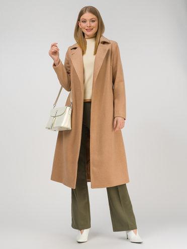 Текстильное пальто 30% шерсть, 70% п.э, цвет бежевый, арт. 01810725  - цена 8490 руб.  - магазин TOTOGROUP