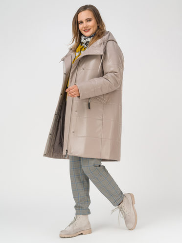 Кожаное пальто эко-кожа 100% П/А, цвет бежевый, арт. 01810865  - цена 9490 руб.  - магазин TOTOGROUP