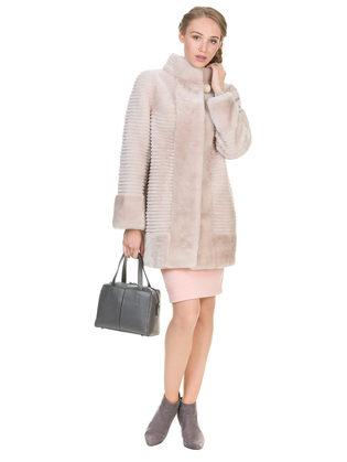 Шуба из мутона мех мутон, цвет розовый, арт. 01900989  - цена 25590 руб.  - магазин TOTOGROUP