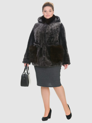 Шуба из мутона мех мутон, цвет серый, арт. 01901153  - цена 44990 руб.  - магазин TOTOGROUP