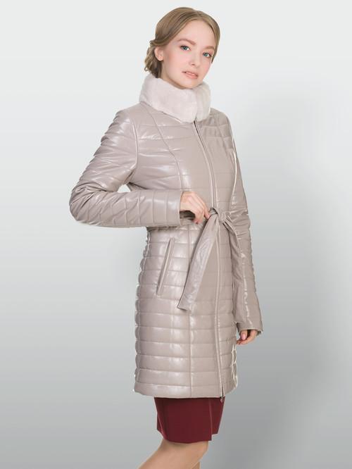 Кожаное пальто артикул 01902235/42 - фото 4