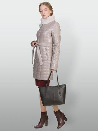 Кожаное пальто эко кожа 100% П/А, цвет бежевый, арт. 01902235  - цена 12690 руб.  - магазин TOTOGROUP