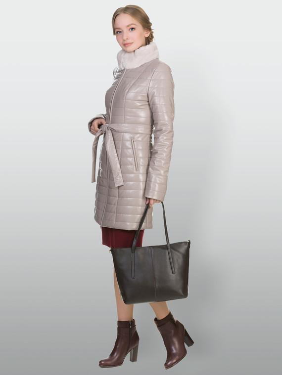 Кожаное пальто эко кожа 100% П/А, цвет бежевый, арт. 01902235  - цена 8490 руб.  - магазин TOTOGROUP