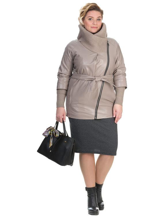 Кожаная куртка эко кожа 100% П/А, цвет бежевый, арт. 01902628  - цена 5290 руб.  - магазин TOTOGROUP