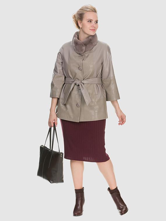 Кожаная куртка эко кожа 100% П/А, цвет бежевый, арт. 01902633  - цена 6990 руб.  - магазин TOTOGROUP