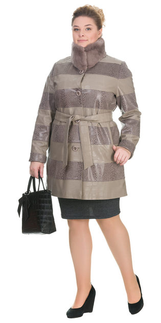 Кожаное пальто эко кожа 100% П/А, цвет бежевый, арт. 01902638  - цена 11990 руб.  - магазин TOTOGROUP