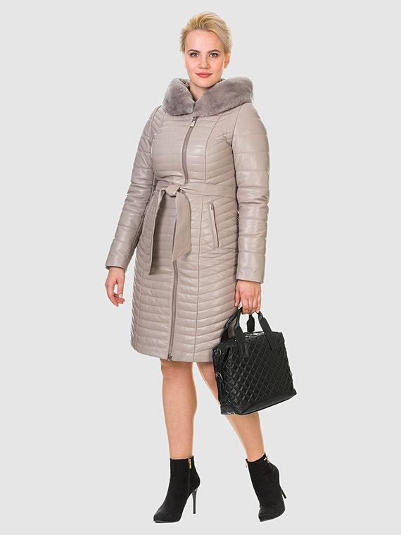 Кожаное пальто кожа , цвет бежевый, арт. 01902643  - цена 16990 руб.  - магазин TOTOGROUP