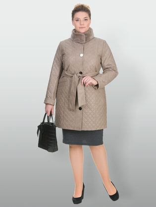 Кожаное пальто эко кожа 100% П/А, цвет бежевый, арт. 01902644  - цена 11990 руб.  - магазин TOTOGROUP