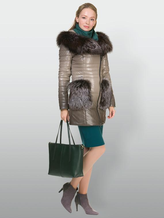 Кожаная куртка эко кожа 100% П/А, цвет бежевый, арт. 01902649  - цена 14990 руб.  - магазин TOTOGROUP