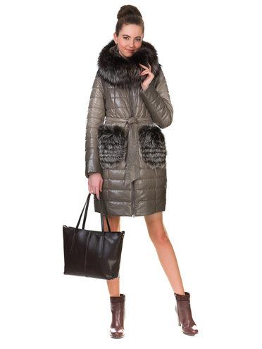 Кожаное пальто эко кожа 100% П/А, цвет бежевый, арт. 01902650  - цена 11290 руб.  - магазин TOTOGROUP