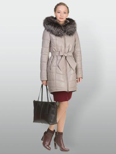 Кожаное пальто кожа , цвет бежевый, арт. 01902654  - цена 25590 руб.  - магазин TOTOGROUP