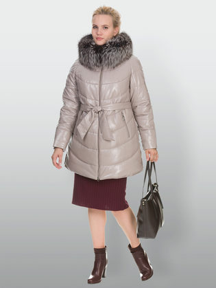 Кожаная куртка эко кожа 100% П/А, цвет бежевый, арт. 01902655  - цена 18990 руб.  - магазин TOTOGROUP