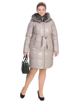 Кожаное пальто эко кожа 100% П/А, цвет бежевый, арт. 01902658  - цена 18990 руб.  - магазин TOTOGROUP
