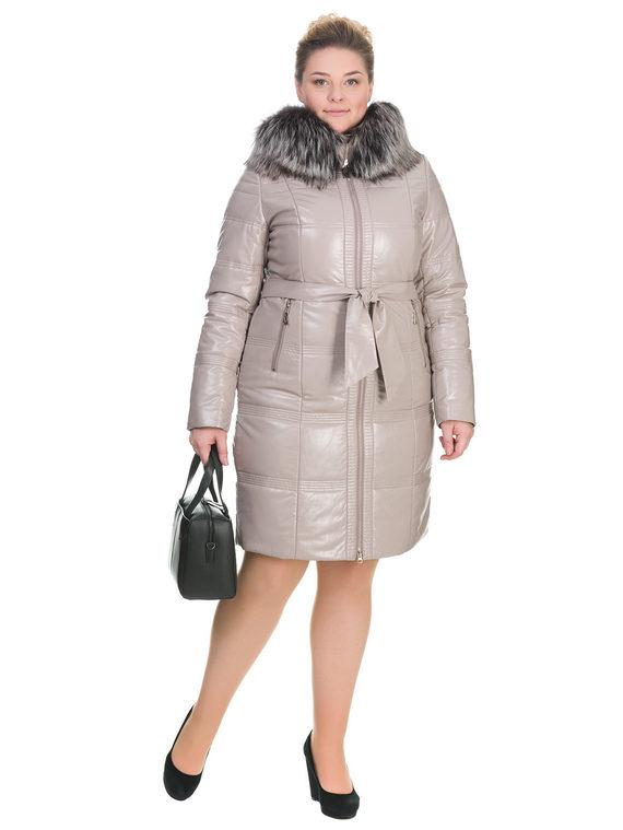 Кожаное пальто эко кожа 100% П/А, цвет бежевый, арт. 01902658  - цена 10590 руб.  - магазин TOTOGROUP