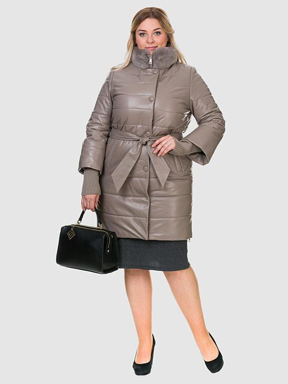Кожаное пальто кожа , цвет бежевый, арт. 01902664  - цена 14990 руб.  - магазин TOTOGROUP