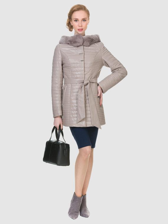 Кожаная куртка эко кожа 100% П/А, цвет бежевый, арт. 01902725  - цена 9490 руб.  - магазин TOTOGROUP