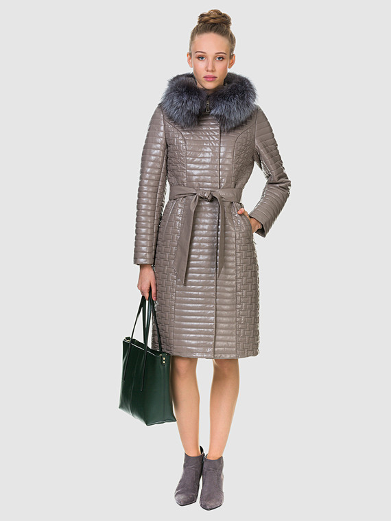 Кожаное пальто эко кожа 100% П/А, цвет бежевый, арт. 01902728  - цена 11290 руб.  - магазин TOTOGROUP