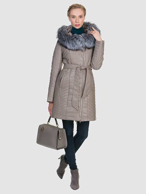 Кожаное пальто эко кожа 100% П/А, цвет бежевый, арт. 01902729  - цена 9490 руб.  - магазин TOTOGROUP