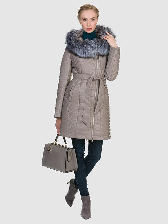 Кожаное пальто эко кожа 100% П/А, цвет бежевый, арт. 01902729  - цена 9990 руб.  - магазин TOTOGROUP
