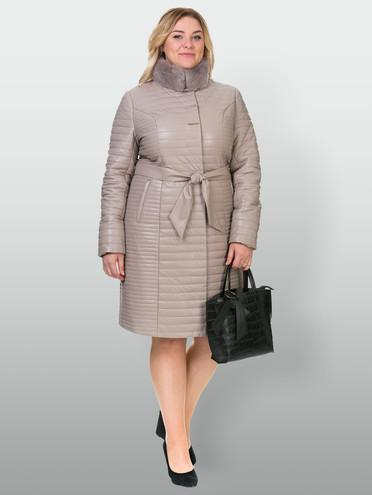 Кожаное пальто эко кожа 100% П/А, цвет бежевый, арт. 01902732  - цена 11990 руб.  - магазин TOTOGROUP