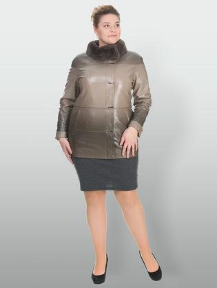 Кожаная куртка эко кожа 100% П/А, цвет бежевый, арт. 01902765  - цена 15990 руб.  - магазин TOTOGROUP