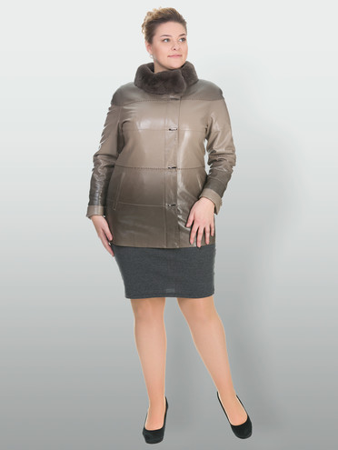 Кожаная куртка эко кожа 100% П/А, цвет бежевый, арт. 01902765  - цена 12690 руб.  - магазин TOTOGROUP