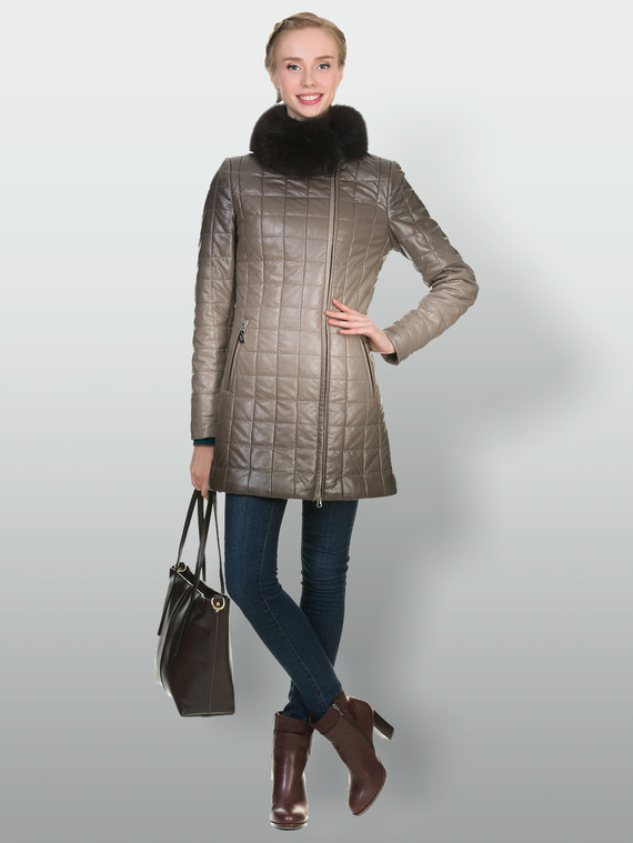 Кожаное пальто эко кожа 100% П/А, цвет бежевый, арт. 01902897  - цена 7990 руб.  - магазин TOTOGROUP