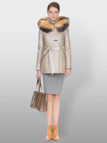 Кожаная куртка кожа , цвет бежевый, арт. 01902933  - цена 9490 руб.  - магазин TOTOGROUP