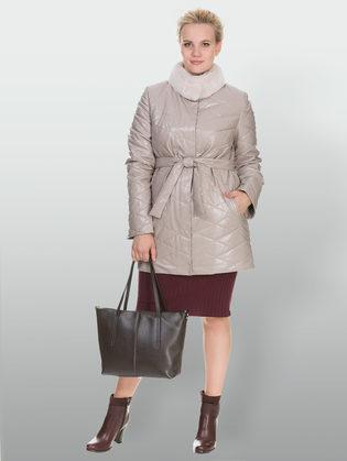 Кожаное пальто эко кожа 100% П/А, цвет бежевый, арт. 01902998  - цена 12690 руб.  - магазин TOTOGROUP