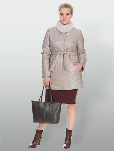 Кожаное пальто эко кожа 100% П/А, цвет бежевый, арт. 01902998  - цена 9990 руб.  - магазин TOTOGROUP