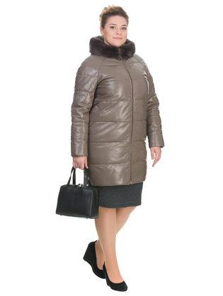 Кожаное пальто кожа овца, цвет бежевый, арт. 01903291  - цена 26990 руб.  - магазин TOTOGROUP