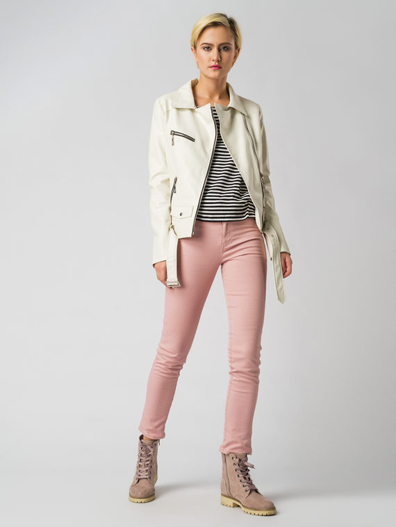 Кожаная куртка эко кожа флоттер, цвет белый, арт. 02006134  - цена 3990 руб.  - магазин TOTOGROUP