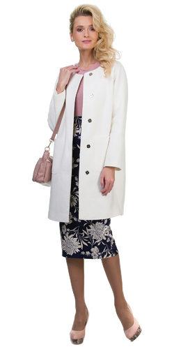 Текстильное пальто 70%шерсть,30%п,а, цвет белый, арт. 02700499  - цена 6990 руб.  - магазин TOTOGROUP