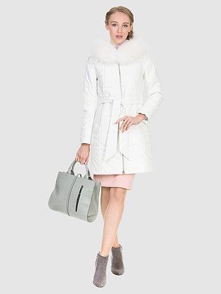 Кожаное пальто эко кожа 100% П/А, цвет белый, арт. 02902731  - цена 16990 руб.  - магазин TOTOGROUP