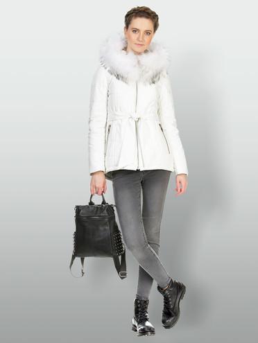 Кожаная куртка эко кожа 100% П/А, цвет белый, арт. 02903465  - цена 15990 руб.  - магазин TOTOGROUP