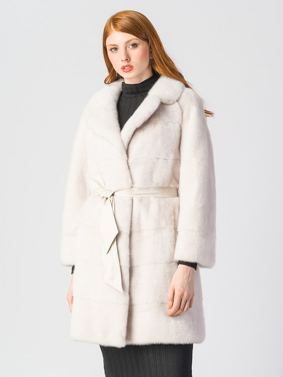 Шуба из норки мех норка, цвет белый, арт. 02903514  - цена 105990 руб.  - магазин TOTOGROUP