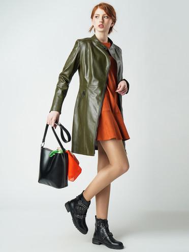 Кожаное пальто эко-кожа 100% П/А, цвет болотный, арт. 03005796  - цена 6290 руб.  - магазин TOTOGROUP