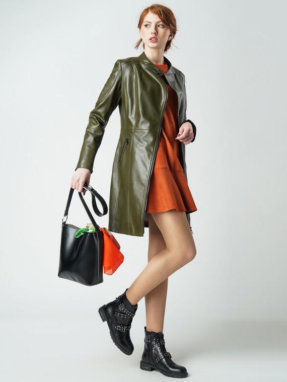 Кожаное пальто эко-кожа 100% П/А, цвет болотный, арт. 03005796  - цена 6990 руб.  - магазин TOTOGROUP