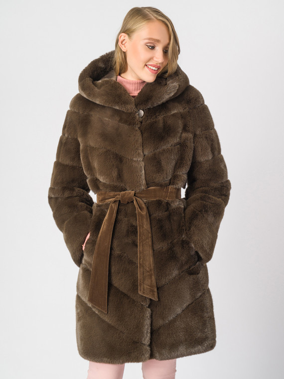 Шуба под кролика мех искусственный под кролика, цвет коричневый, арт. 03007075  - цена 6990 руб.  - магазин TOTOGROUP