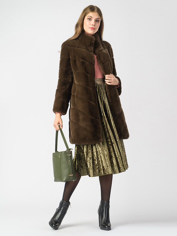 Шуба под кролика мех под кролика, цвет коричневый, арт. 03007077  - цена 11990 руб.  - магазин TOTOGROUP
