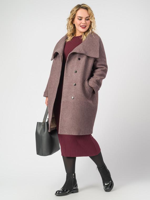 Текстильное пальто 30%шерсть, 70% п\а, цвет коричневый, арт. 03007107  - цена 8490 руб.  - магазин TOTOGROUP
