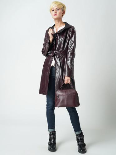 Кожаное пальто эко-кожа 100% П/А, цвет бордо, арт. 04005774  - цена 6990 руб.  - магазин TOTOGROUP