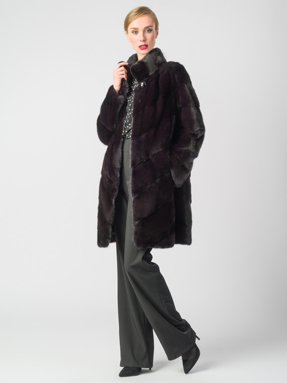 Шуба из норки мех норка, цвет бордо, арт. 04006643  - цена 89990 руб.  - магазин TOTOGROUP