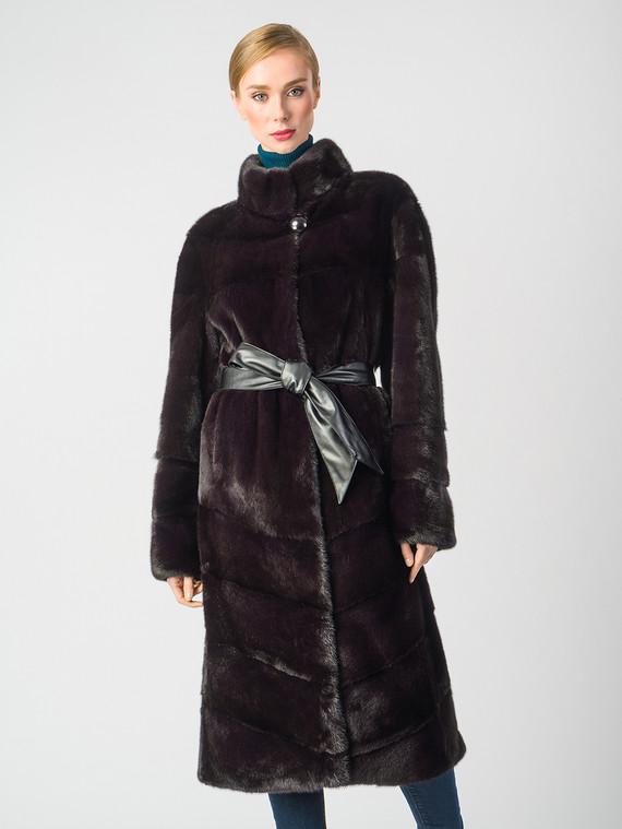 Шуба из норки мех норка, цвет бордо, арт. 04006644  - цена 105990 руб.  - магазин TOTOGROUP