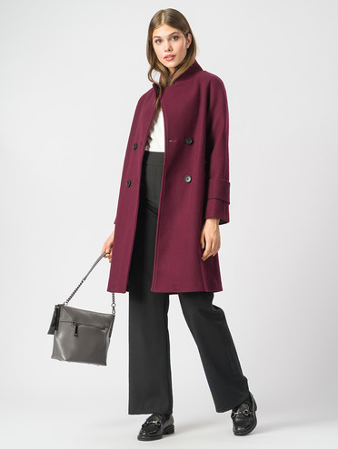 Текстильное пальто 30%шерсть, 70% п.э, цвет винный, арт. 04006818  - цена 5590 руб.  - магазин TOTOGROUP
