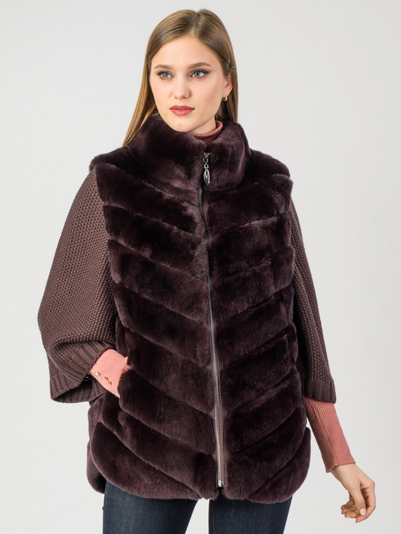 Шуба из кролика мех кролик, цвет бордо, арт. 04007608  - цена 25590 руб.  - магазин TOTOGROUP