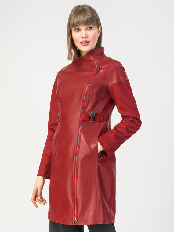 Кожаное пальто эко-кожа 100% П/А, цвет красный, арт. 04108119  - цена 7990 руб.  - магазин TOTOGROUP