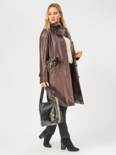 Кожаное пальто эко-кожа 100% П/А, цвет бордо, арт. 04109021  - цена 14190 руб.  - магазин TOTOGROUP