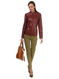 Кожаная куртка кожа овца, цвет бордо, арт. 04700047  - цена 13990 руб.  - магазин TOTOGROUP