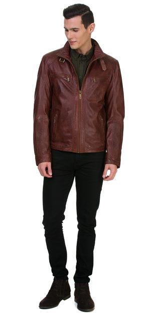 Кожаная куртка кожа овца, цвет бордо, арт. 04700063  - цена 13990 руб.  - магазин TOTOGROUP